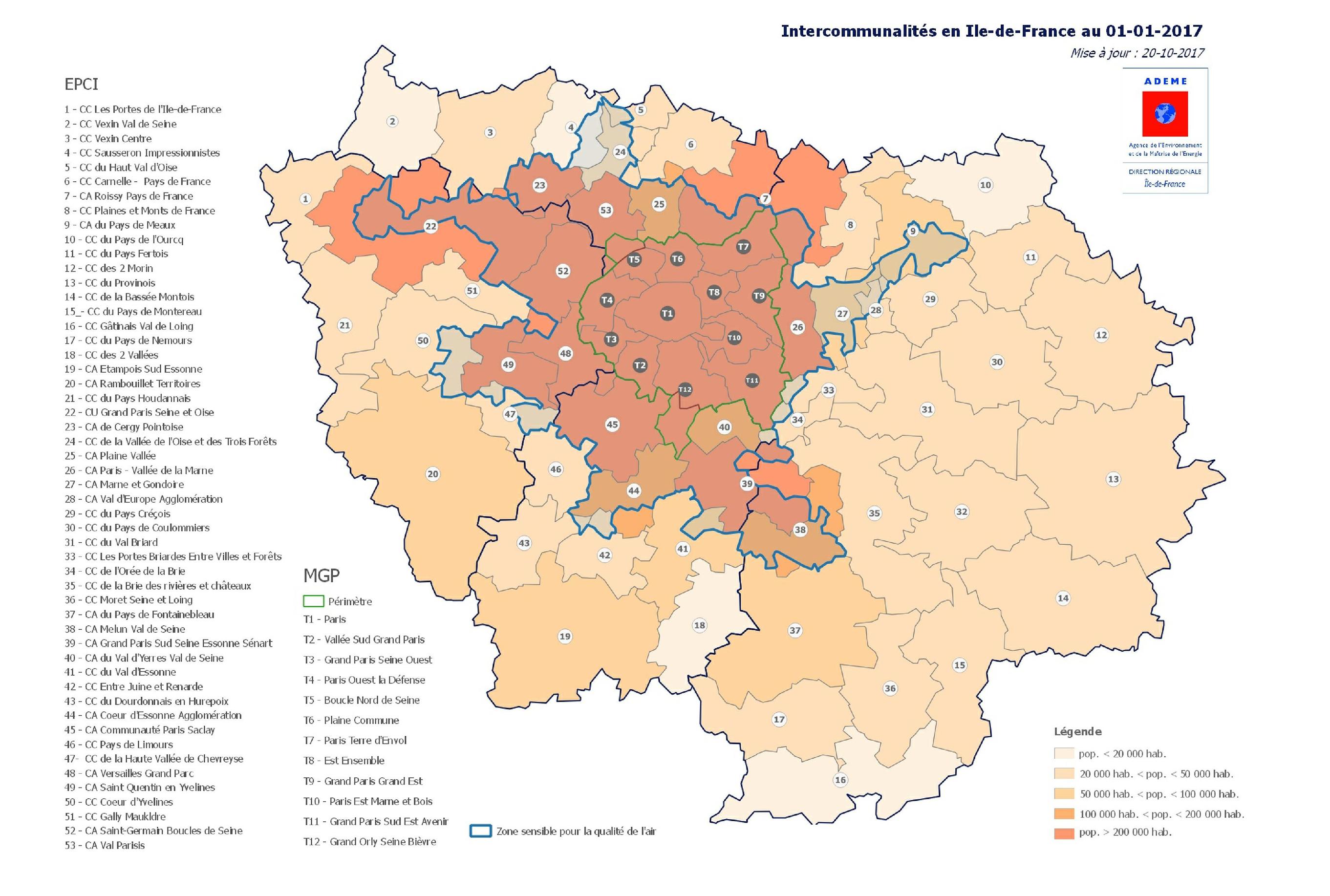 Qualité de l'air : les zones sensibles du territoire francilien au 01/01/2017