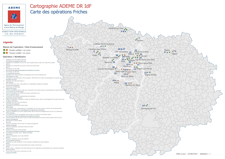 Carte des opérations sur les friches en Ile-de-France
