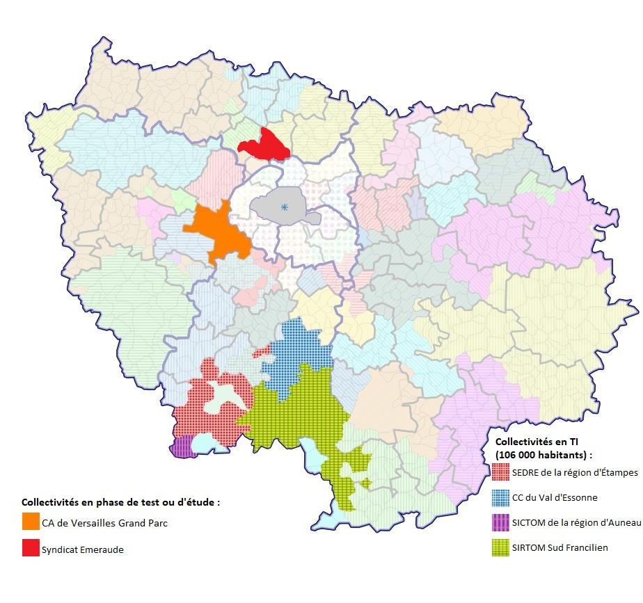Carte des collectivités touchées par la tarification incitative en Île-de-France
