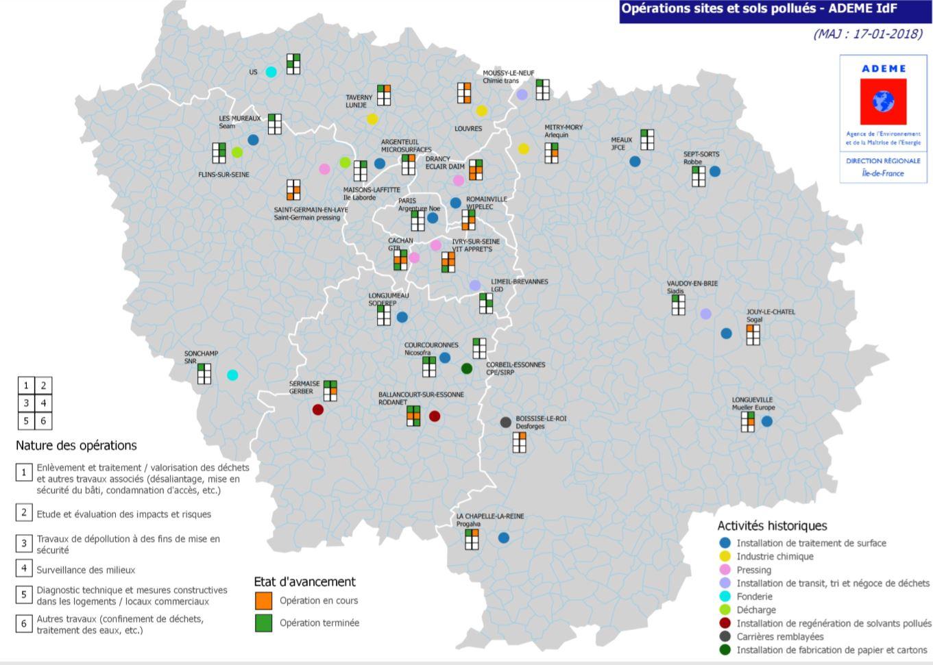 Cartographie des opérations sur sites et sols pollués en Île-de-France