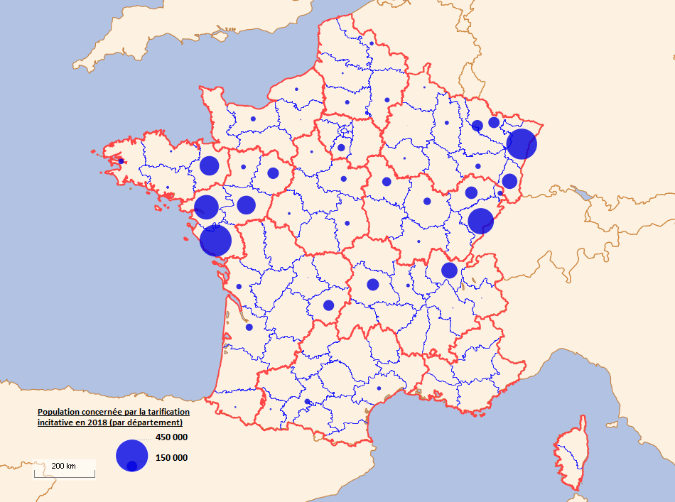 Carte du développement de la tarification incitative en France (par département)