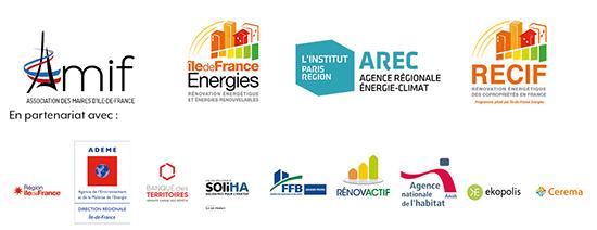 l'AMIF, l'AREC, le département énergie climat de L'Institut Paris Region, Île-de-France Energies RECIF, en partenariat avec La Région Île-de-France, l'ADEME Île-de-France, la Banque des Territoires, SoliHA, la FFB, Rénovactif, l'Anah, Ekopolis et Cerema